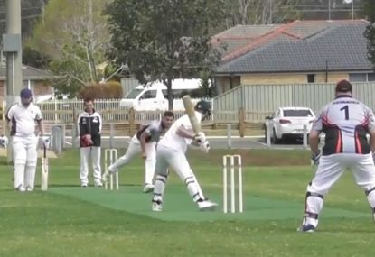 Attempted slog down the ground leaves off stump open for assassination