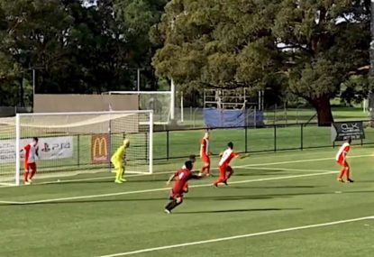 Unbelievable long range one-touch volley for the ages