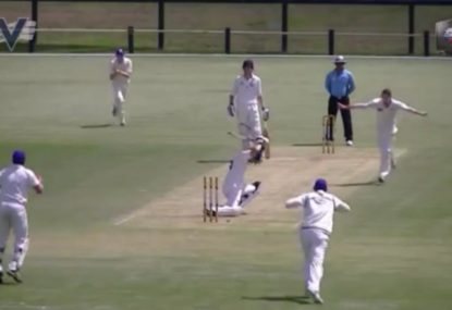 Batsman's hilariously exaggerated leave backfires spectacularly!