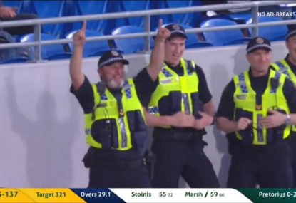 Cop becomes instant legend with epic crowd catch and celebration