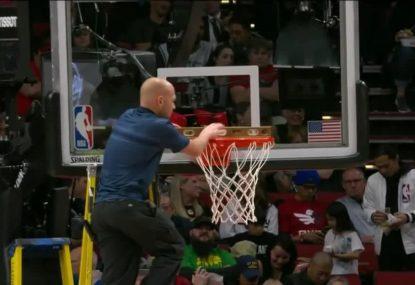Bored commentators comically fill during 'hoop repair' delay