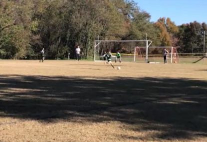 Dead-eye junior nails the crossbar challenge from long range