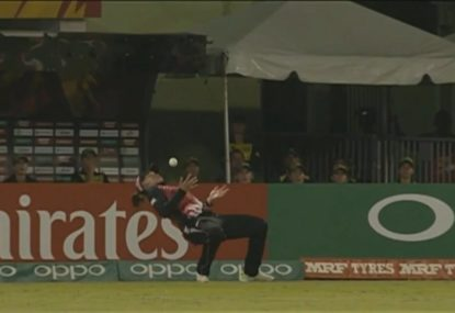 Kiwi almost recreates Mark Taylor's famous slips catch...in the outfield!