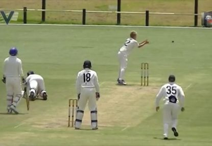 Batsman stuck on a slip and slide gets mercilessly runout
