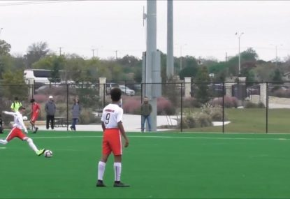 U14s whizz-kid fires home free-kick like a pro