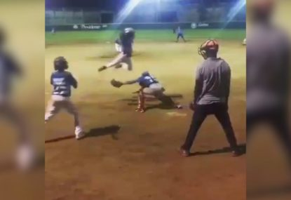 The hilarious flying baseballer taking the internet by storm!