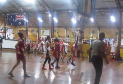 Defender shows who's the boss with huge two-handed block