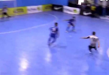 Futsal legend brutally steals the ball and fires an absolute rocket