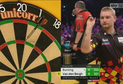 Belgian sends crowd into a frenzy with rare 9 dart finish