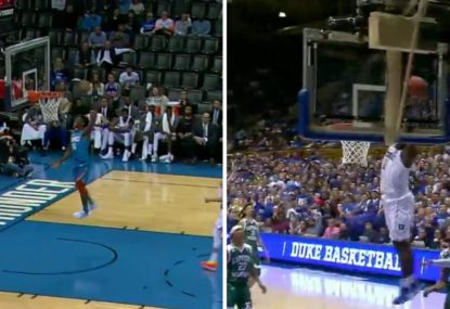 The embarrassment and magic of basketball shown in two contrasting dunks