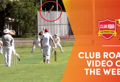CLUB ROAR VIDEO OF THE WEEK: Batsman hilariously launches bat into the heavens
