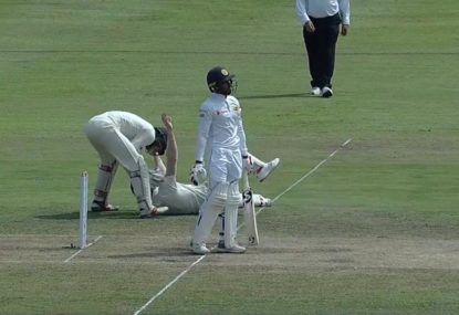 Sri Lankan can't believe his bad luck as Englishman takes a blinder at short leg