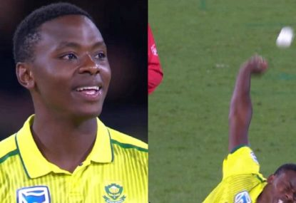 Kagiso Rabada sends the ball into orbit in an all-time shocker