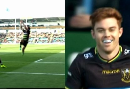 Aussie winger's skill and footy smarts lead to high-flying try for Northampton