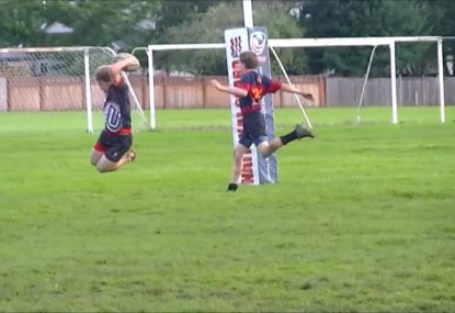 Player celebrates first ever rugby try with a unique put-down