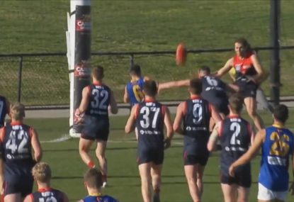 AFL player shows off his soccer skills to claim six points
