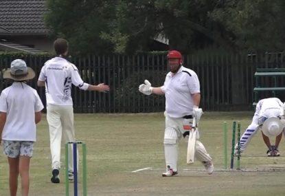 Jolly batsman congratulates young bowler for demolishing his stumps