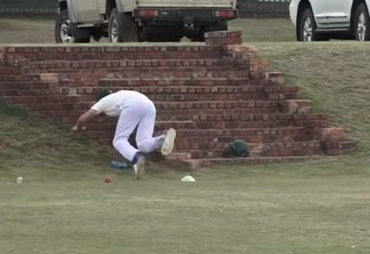 Park cricketer's unwavering commitment sends him on collision-course with solid brick