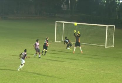 Striker fools the half-arsed goalie with a chip and chase