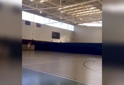 Basketball prodigy goes for broke with full court shot
