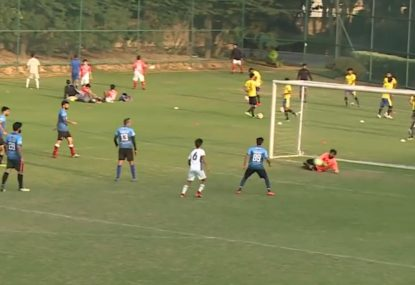 Goalie left red-faced after being fooled by bumpy pitch