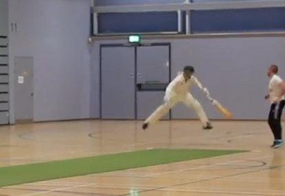 Nimble non-striker gets airborne to help his batting partner hit 'golden arm'