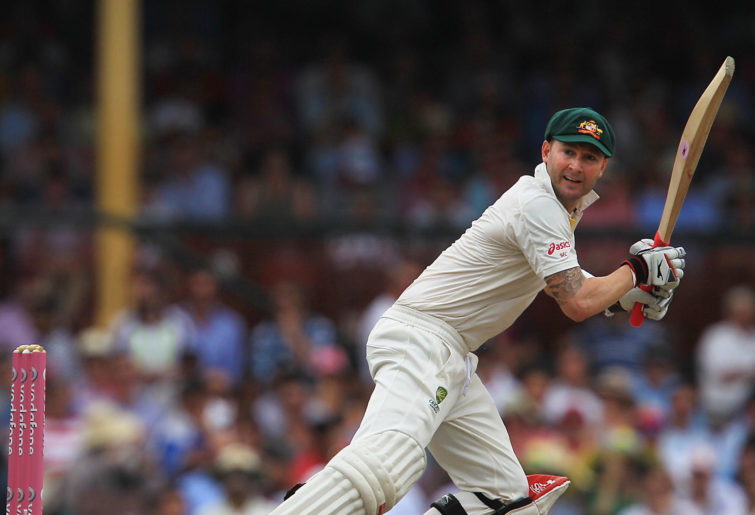 Michael Clarke batting in the baggy green
