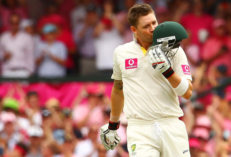 Michael Clarke celebrates his triple century