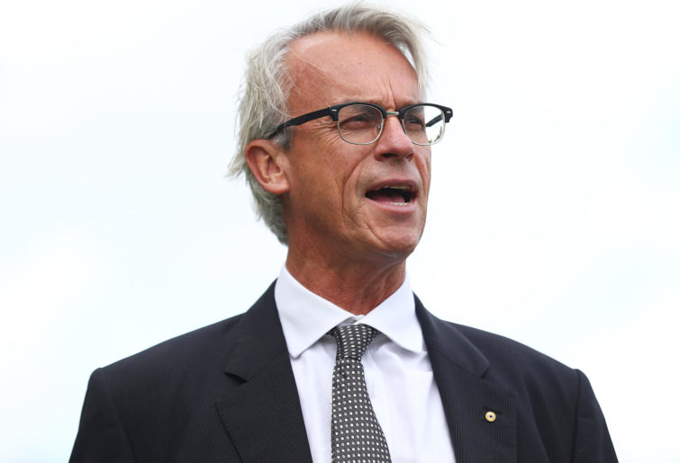 David Gallop speaks during an FFA press conference.