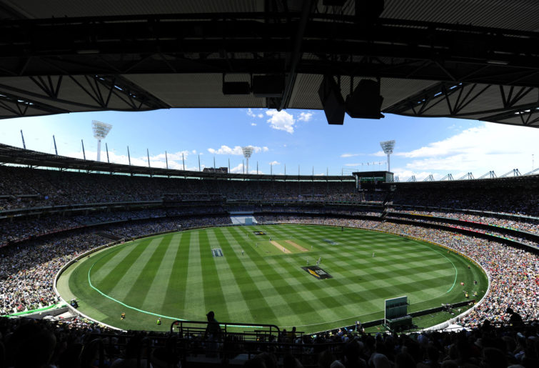 A wide shot of the MCG during a cricket match.