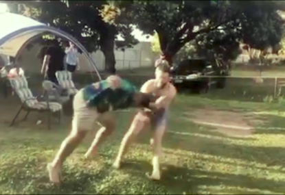 Mate leads with brutal headbutt in 'run it straight' collision