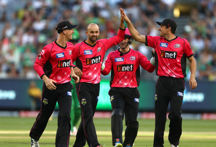 Nathan Lyon of the Sixers celebrates