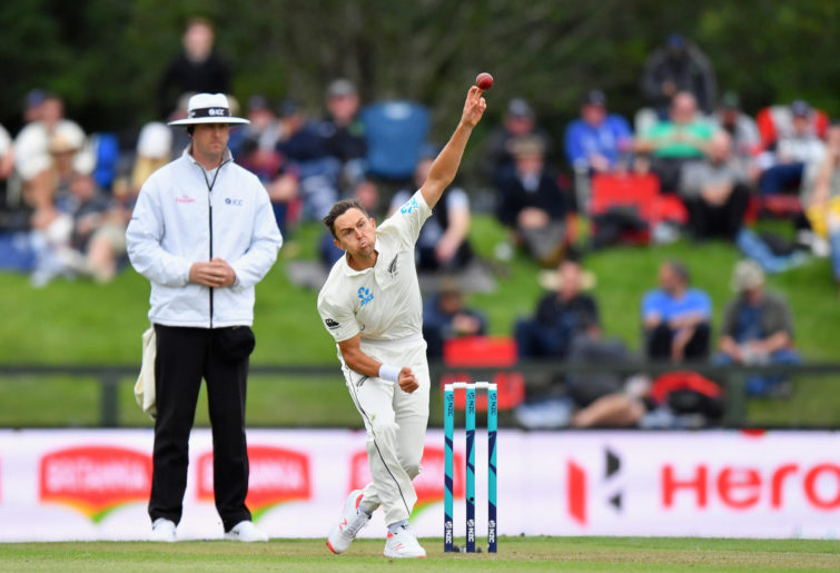 Trent Boult bowls the ball.