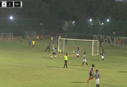 Goalie stunned by centimetre-perfect lob into the corner