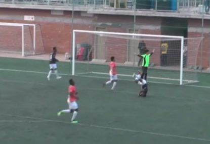 Striker somehow shanks certain goal from right in front
