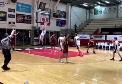 Player savagely dunks one-handed ON TOP of defender