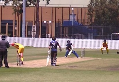 Batsman scoops a gift straight into the keepers waiting gloves