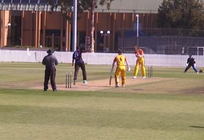 Michael Beer gets bowled for a golden duck in grade cricket