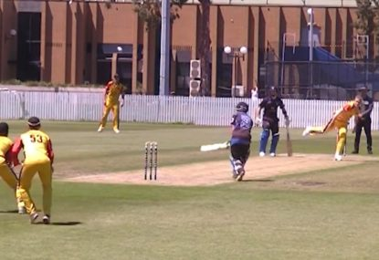 Grade cricketer pulls out the sneakiest of scoop shots