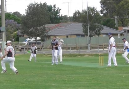Mid-off pulls gives bowler heart attack with juggling act