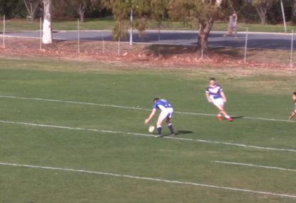 Cheeky bloke tries to get away with obvious kick-off knock-on