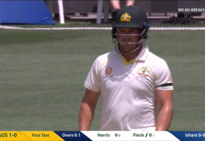 Aaron Finch avoids a pair by the skin of his teeth