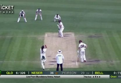 Peirson and Neser star as Queensland chase massive Sheffield Shield total