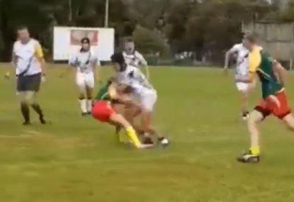Sevens player literally runs over defender in devastating carry
