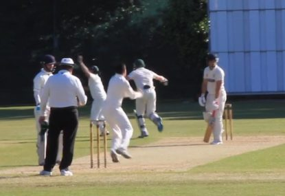 Wrong-footed first slip manages to stick epic catch