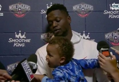 When Julius Randle took his son to a press conference - no microphone was safe