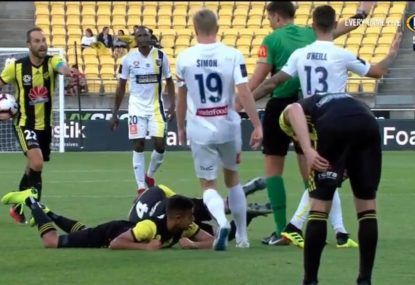 Phoenix midfielder puts his hand up for an Oscar with embarrassing simulation