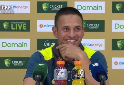 Usman Khawaja chuckles about his chances of being given a bowl