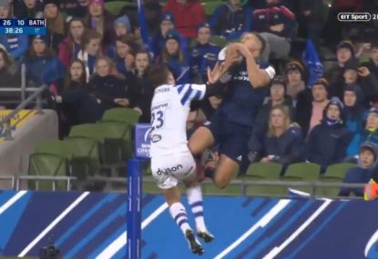 Johnny Sexton's perfect crossfield kick sets up high-flying Leinster try