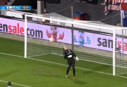 Certain goal sabotaged by back spinning ball